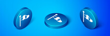 Isometric Cone Meteorology Windsock Wind Vane Icon Isolated On Blue Background. Windsock Indicate The Direction And Strength Of The Wind. Blue Circle Button. Vector.