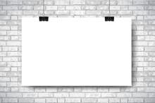 Mockup With Empty White Horizontal Poster On White Brick Wall Background. Trendy Portfolio Blanc Space Frame Background. Vector Illustration For Web Portfolio, Poster Mock Up, Advertising