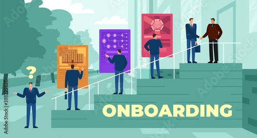 Fototapeta Vector illustration of the onboarding process following candidate selection obraz