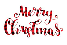 Merry Christmas Card. Lettering Inscription Red Tartan Background.