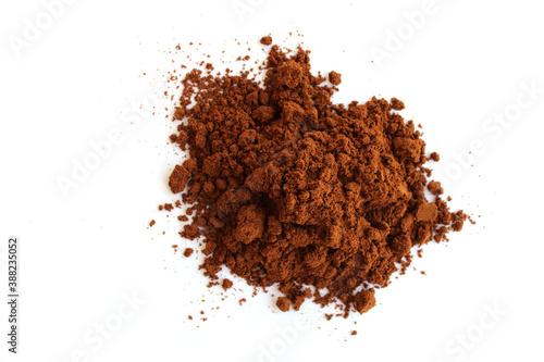Fotografia Ground coffee on white background