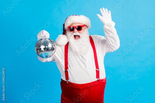 Vászonkép Photo of cool hipster santa claus dance x-mas christmas tradition holly discothe