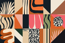 Modern Abstract Exotic Illustration Pattern. Creative Collage Contemporary Seamless Pattern. Fashionable Template For Design.