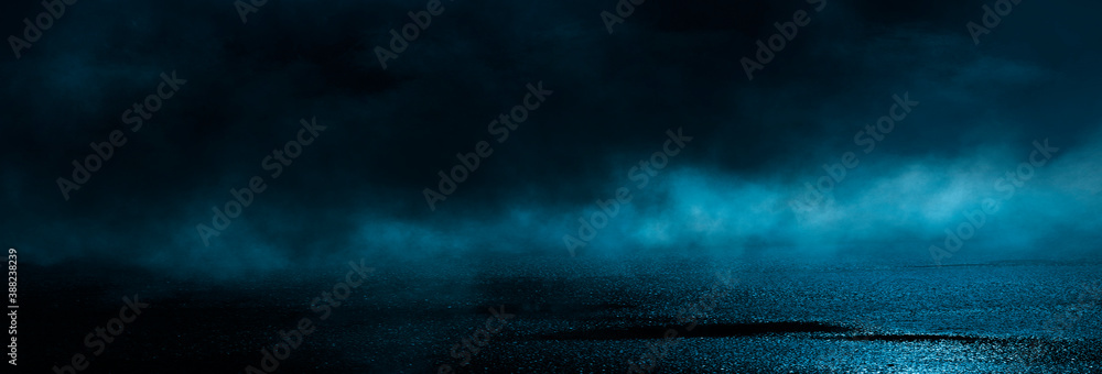 Fototapeta Dark cold wet street, asphalt, neon light. Reflection of neon in water. Empty night street scene, night city, smoke. abstract dark empty scene abstract night landscape neon blue light  silhouettes