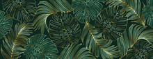 Luxury Gold And Nature Green Background Vector. Floral Pattern, Golden Split-leaf Monstera Plant With Palm Leaves, Vector Illustration.