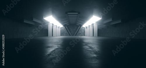 Obraz na płótnie Alien Spaceship Sci Fi Concrete Rough Cement Garage Tunnel Corridor Warehouse Sh