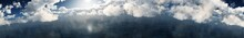 Panorama Of Clouds Over The Water, Cloudy Landscape Over The Sea, 3D Rendering