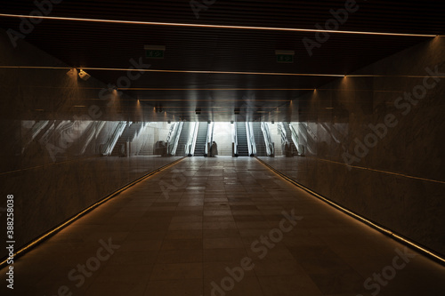 underground passage with escalators Canvas