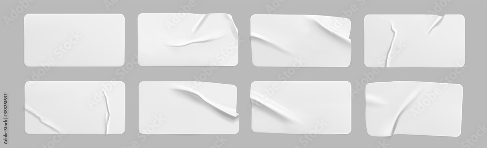 Fototapeta White glued crumpled rectangle stickers mock up set. Blank white adhesive paper or plastic sticker label with wrinkled and creased effect. Template label tags close up. 3d realistic vector