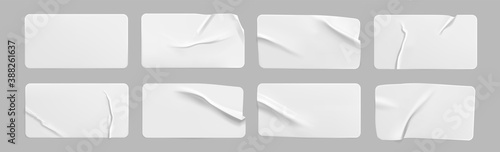 Obraz White glued crumpled rectangle stickers mock up set. Blank white adhesive paper or plastic sticker label with wrinkled and creased effect. Template label tags close up. 3d realistic vector - fototapety do salonu