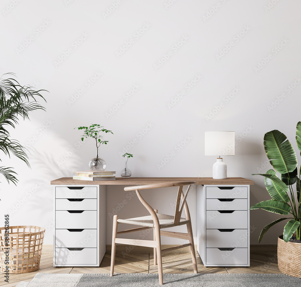 Fototapeta mock up wall in bright farmhouse interior background, wooden office, 3d render