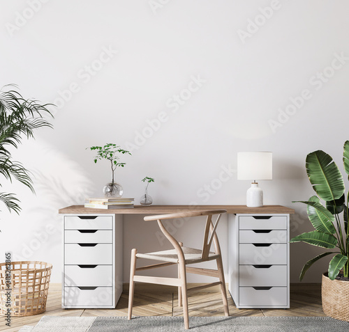 Canvas-taulu mock up wall in bright farmhouse interior background, wooden office, 3d render