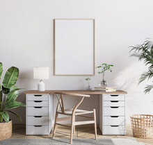 Mock Up Frame In Bright Farmhouse Interior Background, Wooden Office, 3d Render