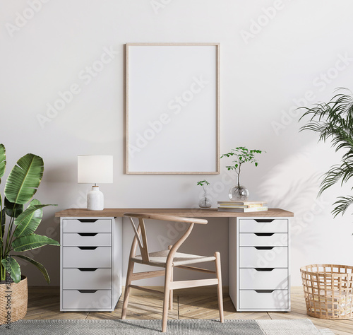 Fototapeta mock up frame in bright farmhouse interior background, wooden office, 3d render