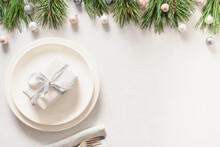 Christmas Table Setting With W...