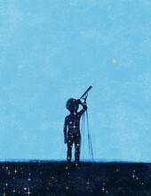 Boy Stargazing