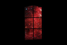 Outer Space In Dark Room. Many Stars And Red Nebula Behind Door With Glass. Abstract Image Of Mind, Dreams, Reverie, Sleep, Coma, Depths Of Subconscious. Elements Of This Image Furnished By NASA.