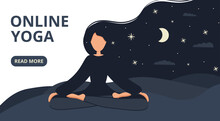 Girl In Yoga Lotus Practices Meditation At Night Outdoor. Nature Background With Moon. Banner, Card Or Landing Page Template. Vector Illustration In Flat Style. Young Woman Meditating