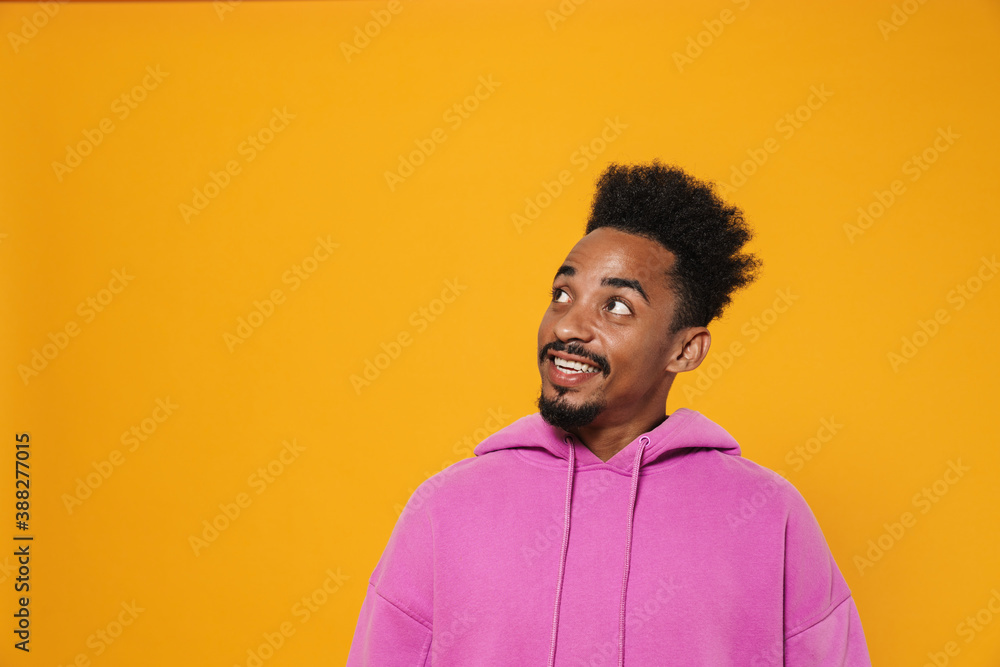 Fototapeta Cheerful african american guy smiling and looking aside