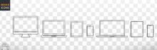 Apple Devices Set: Desktop, Laptop, Smartphone. Stock Vector