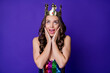 Leinwandbild Motiv Photo of funny lady prom arms cheekbones open mouth look up tiara wear sequins dress isolated purple color background