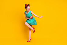 Full Length Body Size View Of Lovely Slim Cheerful Girl Dancing Disco Having Fun Chill Out Isolated On Bright Yellow Color Background