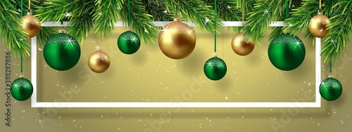 Papel de parede Christmas and New Year background with fir branches and Christmas balls