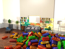 The Living Room Is Taken Over By Colourful Children's Building Toys. Stylish Modern Cosy Living Area