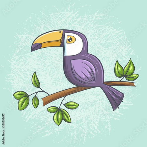Naklejka premium Toucan on a branch. Hand drawn vector illustration with separate layers.
