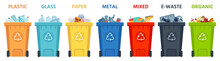 Recycling Bins. Containers With Separated Garbage. Trash Cans For Plastic, Glass, Paper And Organic. Segregate Waste Vector Illustration. Garbage Recycling, Organic Recycle Box For Trash Material