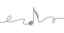 Continuous Line Music Note. Musical Symbol In One Linear Minimalist Style. Trendy Abstract Wave Melody. Vector Outline Sketch Of Sound. Illustration Musical Graphic Contour, Minimalistic Note Outline
