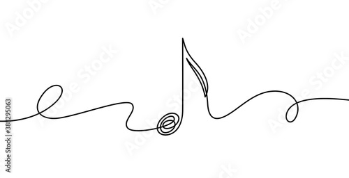 Obraz Continuous line music note. Musical symbol in one linear minimalist style. Trendy abstract wave melody. Vector outline sketch of sound. Illustration musical graphic contour, minimalistic note outline - fototapety do salonu