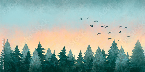 Watercolor illustration of a forest landscape at sunset with flying birds in the sky.