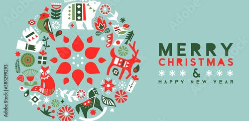 Christmas New Year nordic folk animal banner
