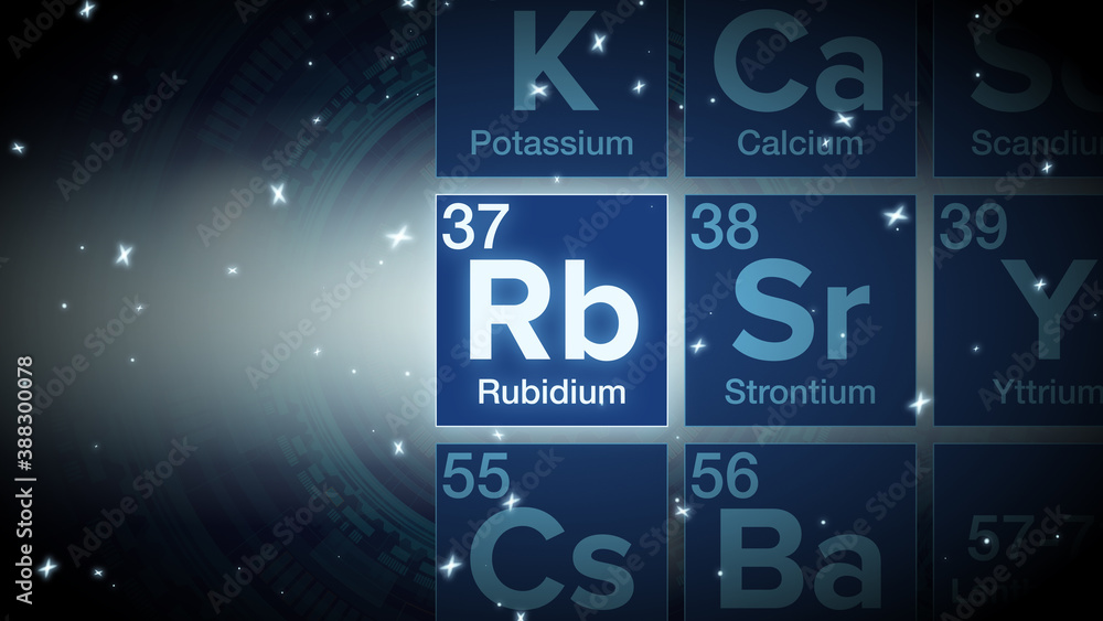 Fototapeta Close up of the Rubidium symbol in the periodic table, tech space environment.