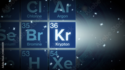 Close up of the Krypton symbol in the periodic table, tech space environment Billede på lærred