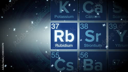 Obraz Close up of the Rubidium symbol in the periodic table, tech space environment. - fototapety do salonu
