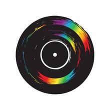 Rainbow Vinyl Record Isolated On White Background. Music Retro Icon.