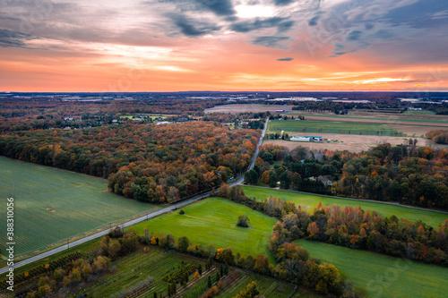 Obraz Drone Sunrise in Plainsboro Princeton New Jersey - fototapety do salonu