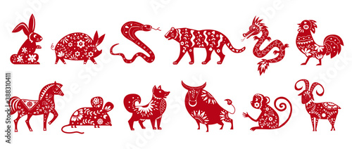 Chinese zodiac animal symbols isolated on white set of vector illustrations. Horoscope signs silhouette with ethnic ornament. Collection of chinese calendar animals, astrological icons.