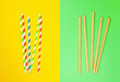 Leinwandbild Motiv modern reusable paper and bamboo, drinking straws as alternative replacement for single-use, classic disposable plastic drinking straw, isolated objects on green and yellow background. icon set