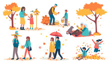 People In Autumn Park Set Of Vector Illustrations. Kids Having Fun, Playing With Autumn Leaves In Park, Mother And Daughter Feed Birds. Grandfather With Boy Look For Mushrooms, Picnic In Fall Season.