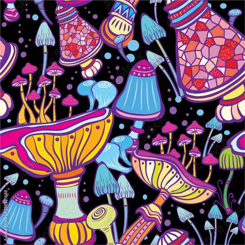 Obraz na plátně Seamless patterns with decorative mushrooms