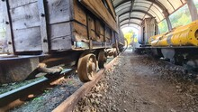 Old Mining Cars On Rails Or Ra...