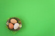 Leinwandbild Motiv Easter holiday greeting card. Top view of Nest with eggs on green background. Space for text