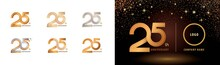 Set Of 25th Anniversary Logotype Design, Twenty Five Years Celebrate Anniversary Logo