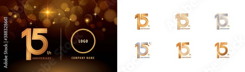Fotografie, Tablou Set of 15th Anniversary logotype design, Fifteen years Celebrate Anniversary Log
