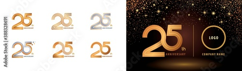 Photo Set of 25th Anniversary logotype design, Twenty five years Celebrate Anniversary