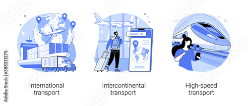 Obraz Modern transportation abstract concept vector illustration set. International, intercontinental and high-speed transport, sea freight, air cargo, plane at airport, railway station abstract metaphor. - fototapety do salonu