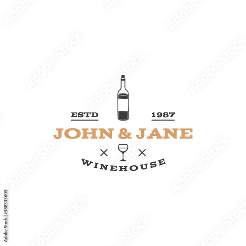 Fotografie, Obraz Wine, winery logo template